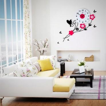 Little bird wall clock art clock-Flower