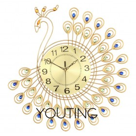Luxury large premium crystal 3D Art silent wall clock--J-Gold