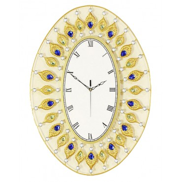 Luxury large premium crystal 3D Art silent wall clock--Q